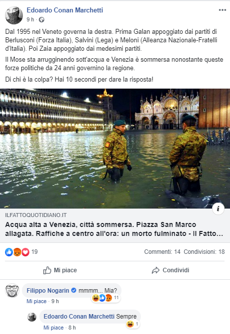 Lo screenshot con il post di Marchetti e la risposta di Nogarin