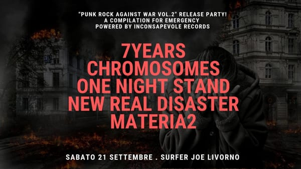 """Punk rock against war"", esce il secondo volume della compilation per Emergency. Band sul palco al Surfer Joe"
